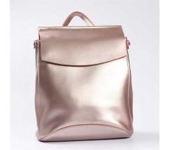 Кожаный повседневный сумка-рюкзак (трансформер) розового перламутрового цвета