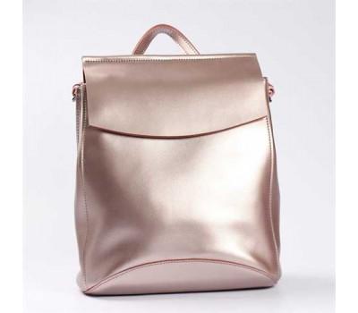 Кожаный сумка-рюкзак розового перламутрового цвета