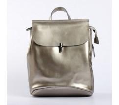 Кожаный рюкзак-сумка серебристый