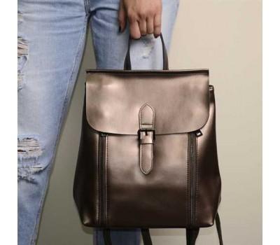 Женский рюкзак-сумка из натуральной кожи, цвет серебро