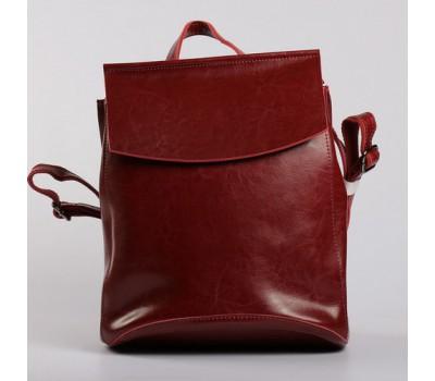 Женский кожаный рюкзак-сумка красный