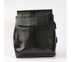 Шкіряний рюкзак-сумка під зміїну шкіру чорний