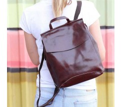 Жіночий шкіряний рюкзак-сумка коричневий