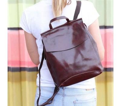 Женский кожаный рюкзак-сумка коричневый