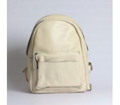Жіночий рюкзак з м'якої шкіри бежевий