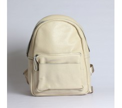 Женский рюкзак с мягкой кожи бежевый