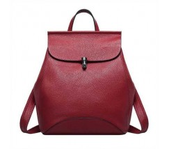 Жіночий рюкзак-сумка червоний з натуральної шкіри