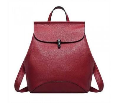 Женский рюкзак-сумка красный из натуральной кожи
