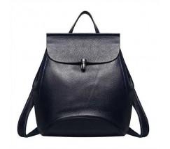 Жіночий рюкзак-сумка синій з натуральної шкіри