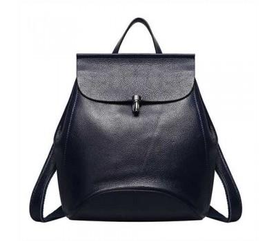 Женский рюкзак-сумка синий из натуральной кожи