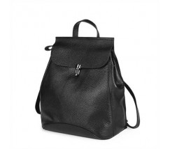 Жіночий стильний рюкзак-сумка з натуральної шкіри чорний