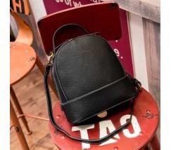 Сумка-рюкзак женский маленький из натуральной кожи черный