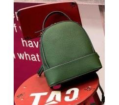Сумка-рюкзак женский маленький из натуральной кожи зеленый