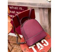 Сумка-рюкзак жіночий маленький з натуральної шкіри фіолетовий