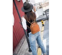 Рюкзак-сумка женский кожаный маленький рыжий