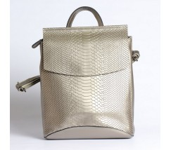Кожаный рюкзак-сумка под змеиную кожу серебристый