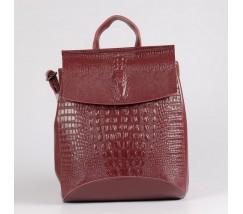 Жіночий шкіряний рюкзак під крокодила бордовий