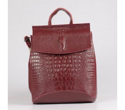 Женский кожаный рюкзак под крокодила бордовый