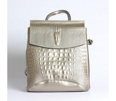Женский кожаный рюкзак под крокодила серебристый