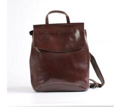Женский городской кожаный рюкзак-сумка(трансформер) коричневый