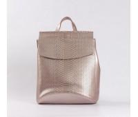 Шкіряний рюкзак-сумка під зміїну шкіру рожевий