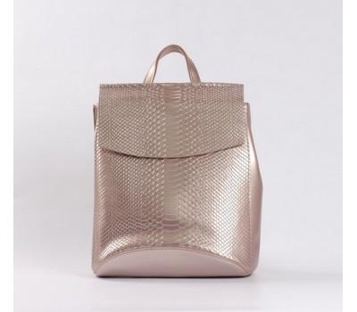 Кожаный рюкзак-сумка под змеиную кожу розовый