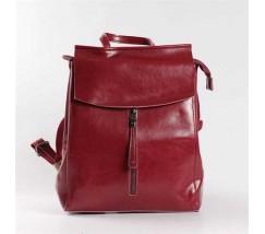 Женский кожаный рюкзак-сумка (трансформер) красный