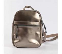 Маленький шкіряний рюкзак-сумка (трансформер) бронзовий