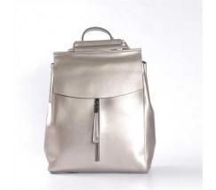 Жіночий шкіряний рюкзак-тарнсформер срібло