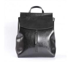 Женский кожаный рюкзак-сумка (трансформер) черный