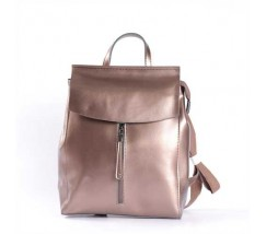 Женский кожаный рюкзак-тарнсформер бронзовый