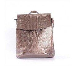 Кожаный рюкзак-сумка (трансформер) с теснением под змеиную кожу бронзовый