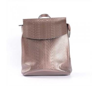 Кожаный рюкзак-сумка с тиснением под змеиную кожу бронзовый
