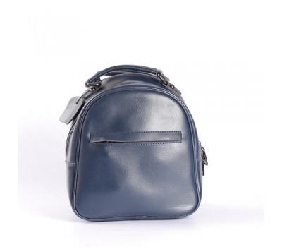 Маленький кожаный рюкзак-сумка синий