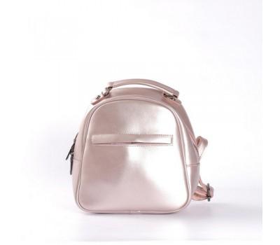 Маленький кожаный рюкзак-сумка розовый перламутровый