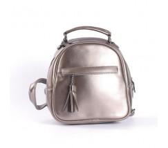 Маленький кожаный рюкзак-сумка бронзовый