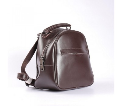 Маленький кожаный рюкзак-сумка коричневый