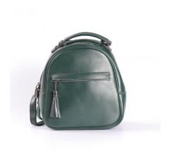 Маленький кожаный рюкзак-сумка зеленый