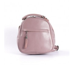 Маленький кожаный рюкзак-сумка темно-розовый