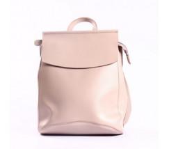 Женский кожаный рюкзак-сумка розовый