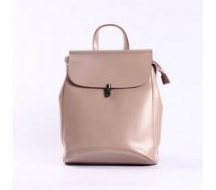 Нежно-розовый кожаный рюкзак-трансформер