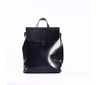 Кожаный рюкзак-сумка синий