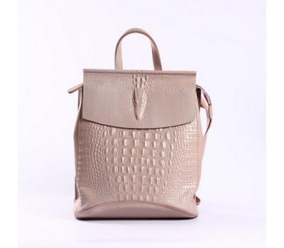 Женский кожаный рюкзак под крокодила светло-розовый
