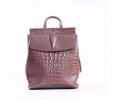 Женский кожаный рюкзак под крокодила темно-розовый