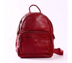 Женский рюкзак с мягкой кожи красный