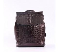 Женский кожаный рюкзак под крокодила темно-коричневый