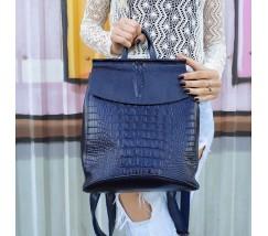 Жіночий шкіряний рюкзак під крокодила синій
