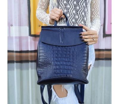 Женский кожаный рюкзак под крокодила синий