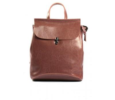 Кожаный рюкзак-сумка темно-розовый