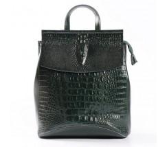 Жіночий шкіряний рюкзак під крокодила зелений